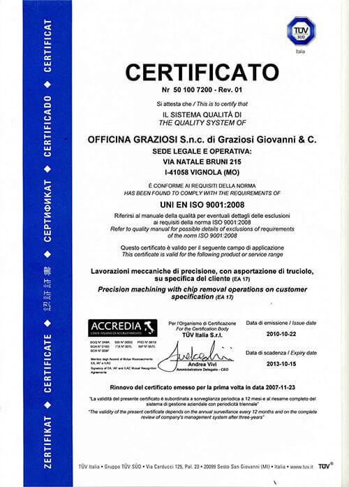 TUV Officina Graziosi - ISO 9001